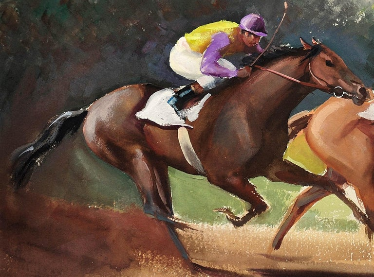 A Tight Finish. 1970.Race Horses. Final Furlong. Equine.Jockeys.Horse Racing. For Sale 8