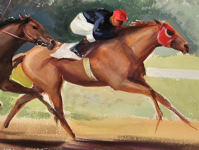 A Tight Finish. 1970.Race Horses. Final Furlong. Equine.Jockeys.Horse Racing. For Sale 9