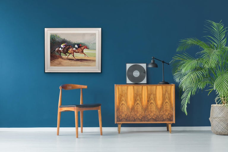 A Tight Finish. 1970.Race Horses. Final Furlong. Equine.Jockeys.Horse Racing. For Sale 2