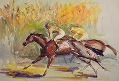 On the Gallops. 1976.Race Horses. Equine.Jockeys.Horse Racing. Racetrack.