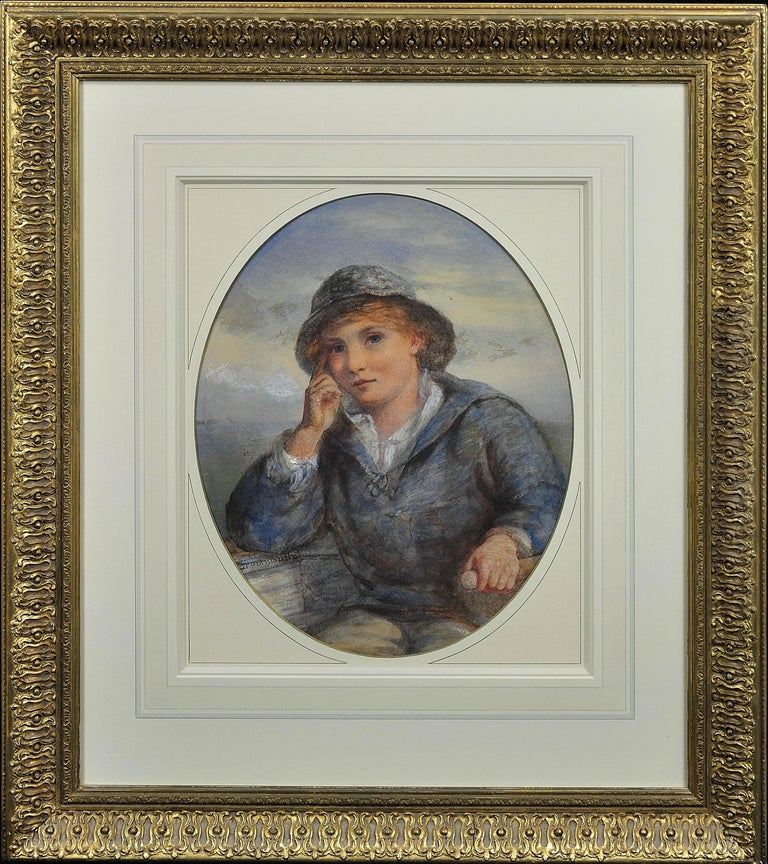 A Gentle Hand on the Tiller. 1870.Sailor Boy.Oval Watercolor Portrait. Scottish. - Art by James Drummond