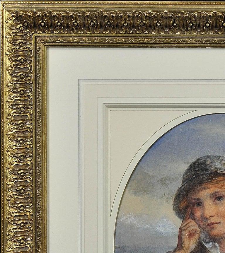 A Gentle Hand on the Tiller. 1870.Sailor Boy.Oval Watercolor Portrait. Scottish. For Sale 6