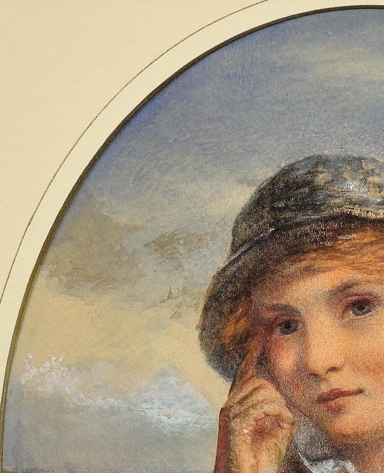 A Gentle Hand on the Tiller. 1870.Sailor Boy.Oval Watercolor Portrait. Scottish. For Sale 7