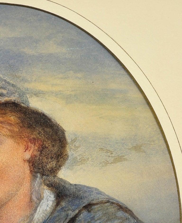 A Gentle Hand on the Tiller. 1870.Sailor Boy.Oval Watercolor Portrait. Scottish. For Sale 8