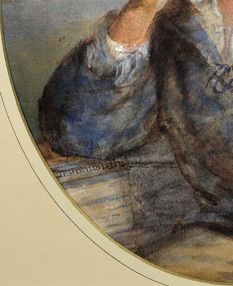 A Gentle Hand on the Tiller. 1870.Sailor Boy.Oval Watercolor Portrait. Scottish. For Sale 9