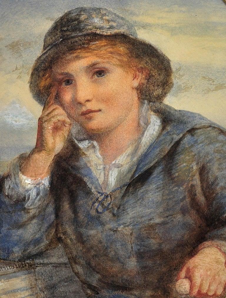 A Gentle Hand on the Tiller. 1870.Sailor Boy.Oval Watercolor Portrait. Scottish. For Sale 11