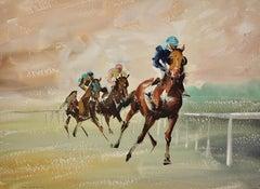 A Three Horse Race. 1963. Mid-Century. Equine.Jockeys. Horse Racing. Racetrack.
