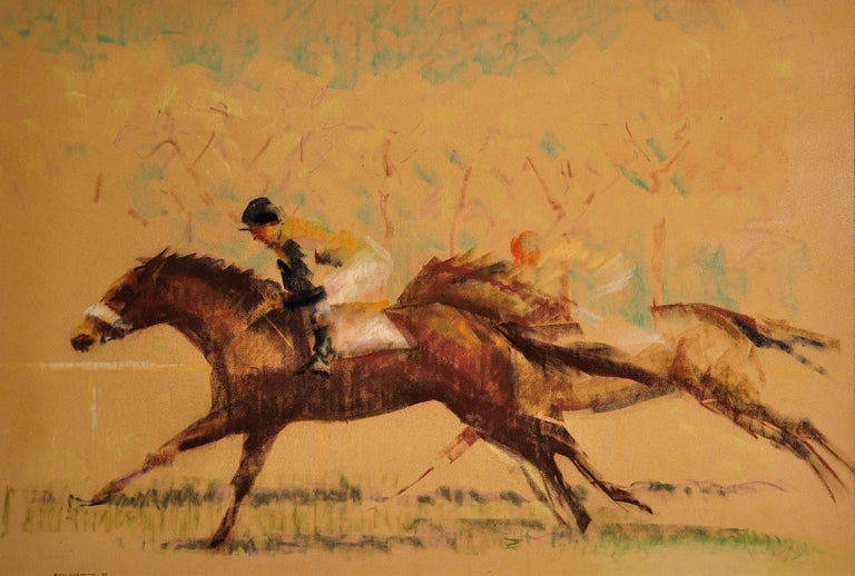Into the Final Furlong. 1965.Race Horses. Equine.Jockeys.Horse Racing.Racetrack. - Modern Art by John Rattenbury Skeaping