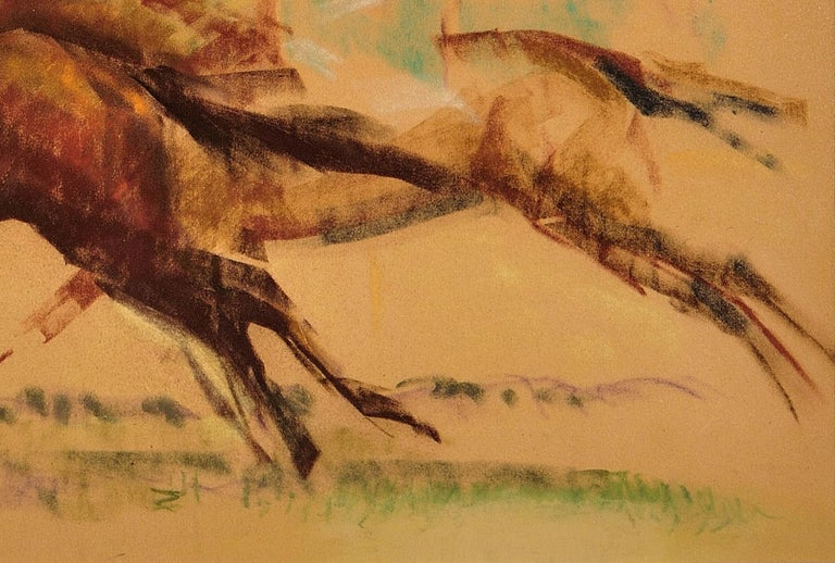 Into the Final Furlong. 1965.Race Horses. Equine.Jockeys.Horse Racing.Racetrack. - Art by John Rattenbury Skeaping