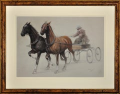 Trotting Horses Harnessed to a Lightweight Fly. Cecil Aldin. Original Drawing.