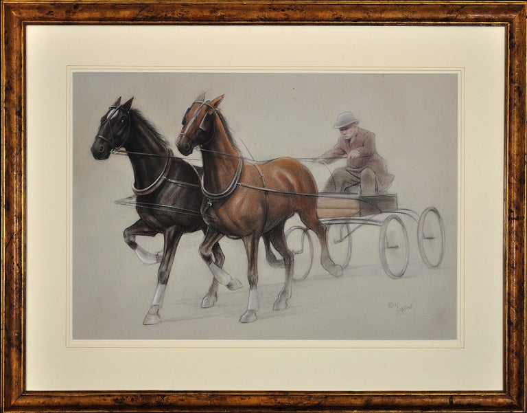 Cecil Charles Windsor Aldin, R.B.A. Animal Art - Trotting Horses Harnessed to a Lightweight Fly. Cecil Aldin. Original Drawing.