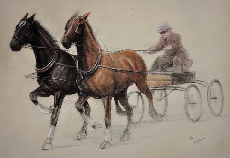 Trotting Horses Harnessed to a Lightweight Fly. Cecil Aldin. Original Drawing. - Art by Cecil Charles Windsor Aldin, R.B.A.