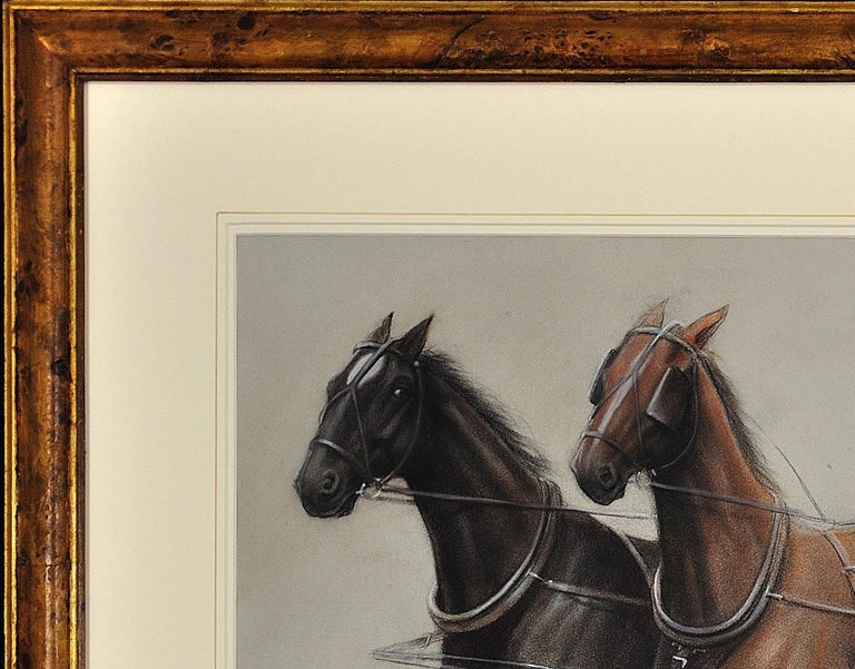 Trotting Horses Harnessed to a Lightweight Fly. Cecil Aldin. Original Drawing. For Sale 7