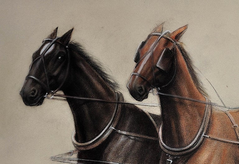 Trotting Horses Harnessed to a Lightweight Fly. Cecil Aldin. Original Drawing. For Sale 8
