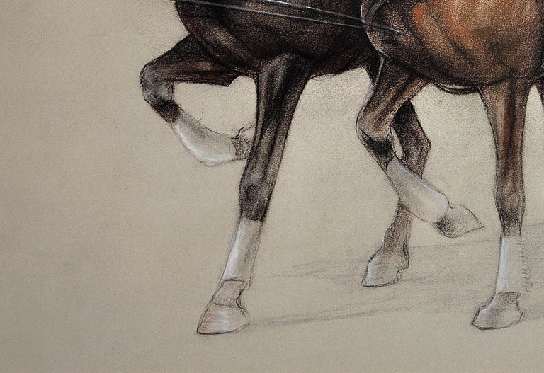 Trotting Horses Harnessed to a Lightweight Fly. Cecil Aldin. Original Drawing. For Sale 10
