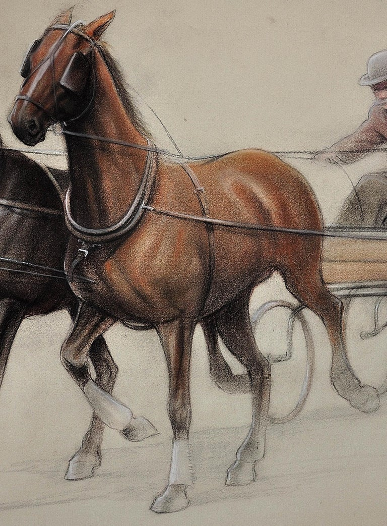 Trotting Horses Harnessed to a Lightweight Fly. Cecil Aldin. Original Drawing. For Sale 14