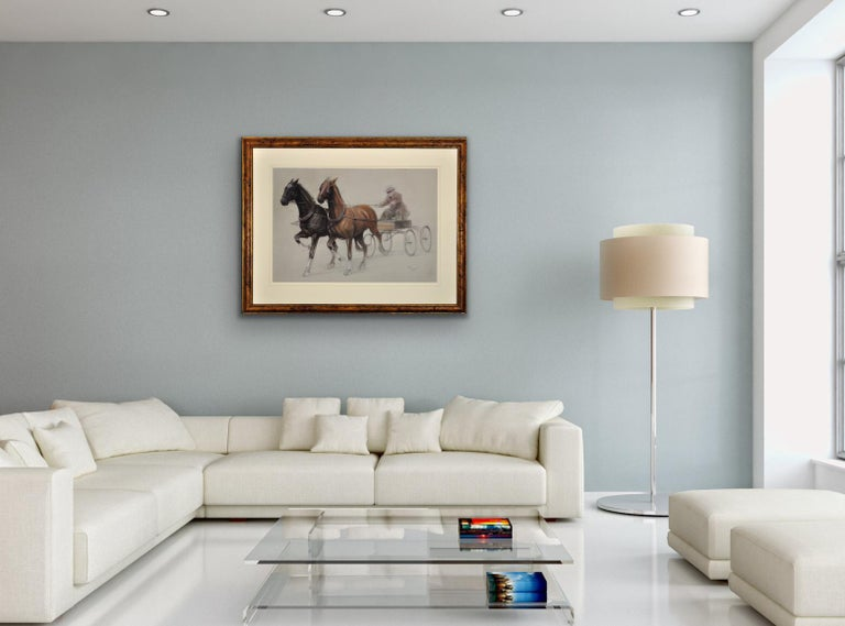 This original drawing by Cecil Aldin, dates from the early part of the 20th century and is presented and supplied in a walnut veneered pine frame from the mid-late 1970s (which is shown in these photographs).  The mount and backing board have been