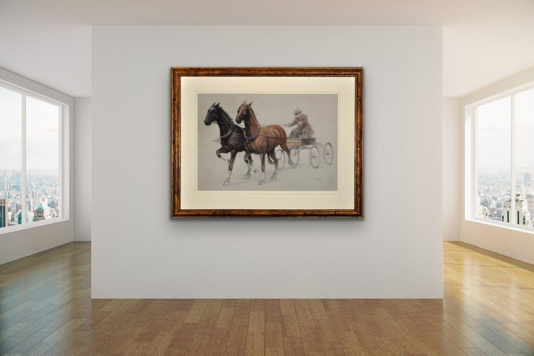 Trotting Horses Harnessed to a Lightweight Fly. Cecil Aldin. Original Drawing. For Sale 2