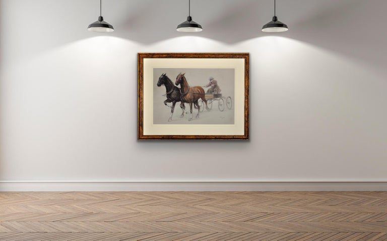 Trotting Horses Harnessed to a Lightweight Fly. Cecil Aldin. Original Drawing. For Sale 4