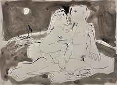 Moonlight Embrace. Colorwash & Ink.En Grisaille.Male & Female Nude.Picasso like.