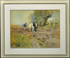 Bullocks Ploughing. Arable Farming. Field. Plough. Original Victorian Watercolor