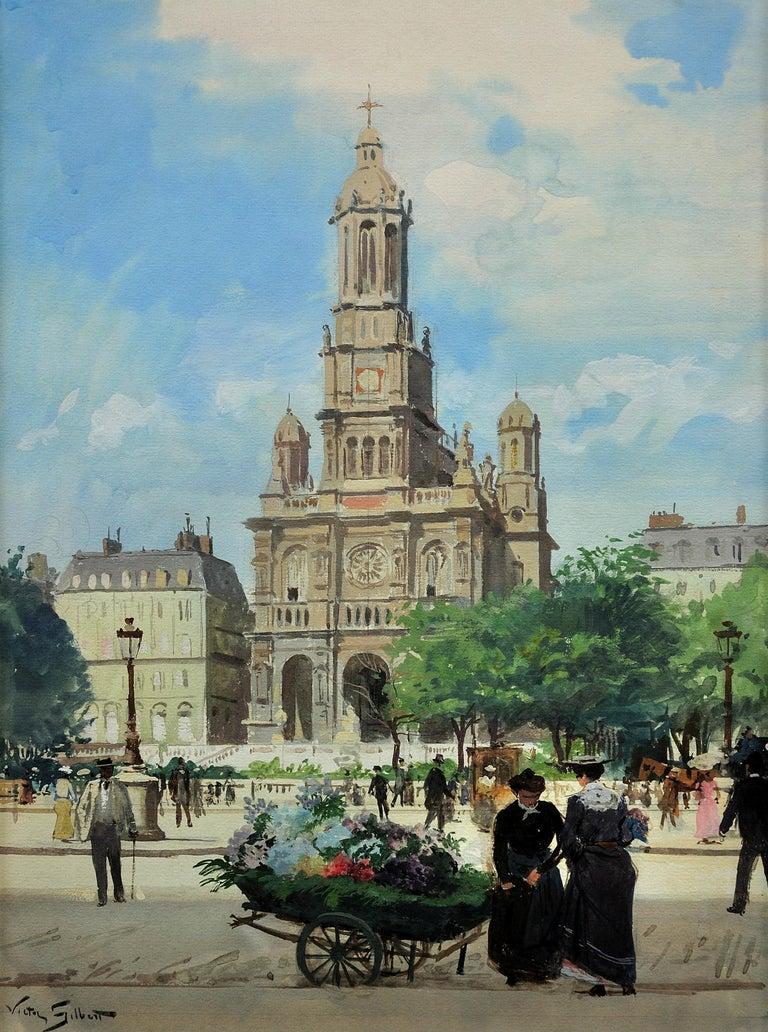 L' Église de la Sainte-Trinité, Place de la Trinité, Paris. Original Watercolor. - Painting by Victor Gabriel Gilbert