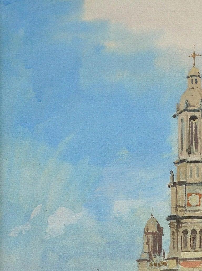 L' Église de la Sainte-Trinité, Place de la Trinité, Paris. Original Watercolor. For Sale 4