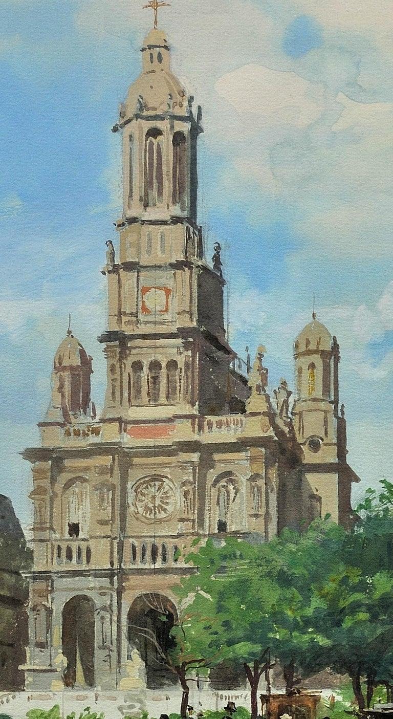 L' Église de la Sainte-Trinité, Place de la Trinité, Paris. Original Watercolor. For Sale 8