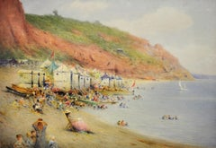Bathing Machines on a Dorset Beach. Original Victorian Watercolor. Huts. Summer.