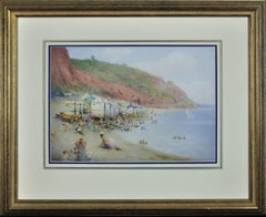 Bathing Machines on a Dorset Beach. Original Victorian Watercolor. Huts. Summer.