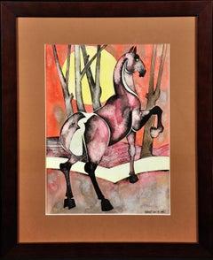 Horse with Rising Sun, 1989. Northern Art. Geoffrey Key. Original Watercolor.