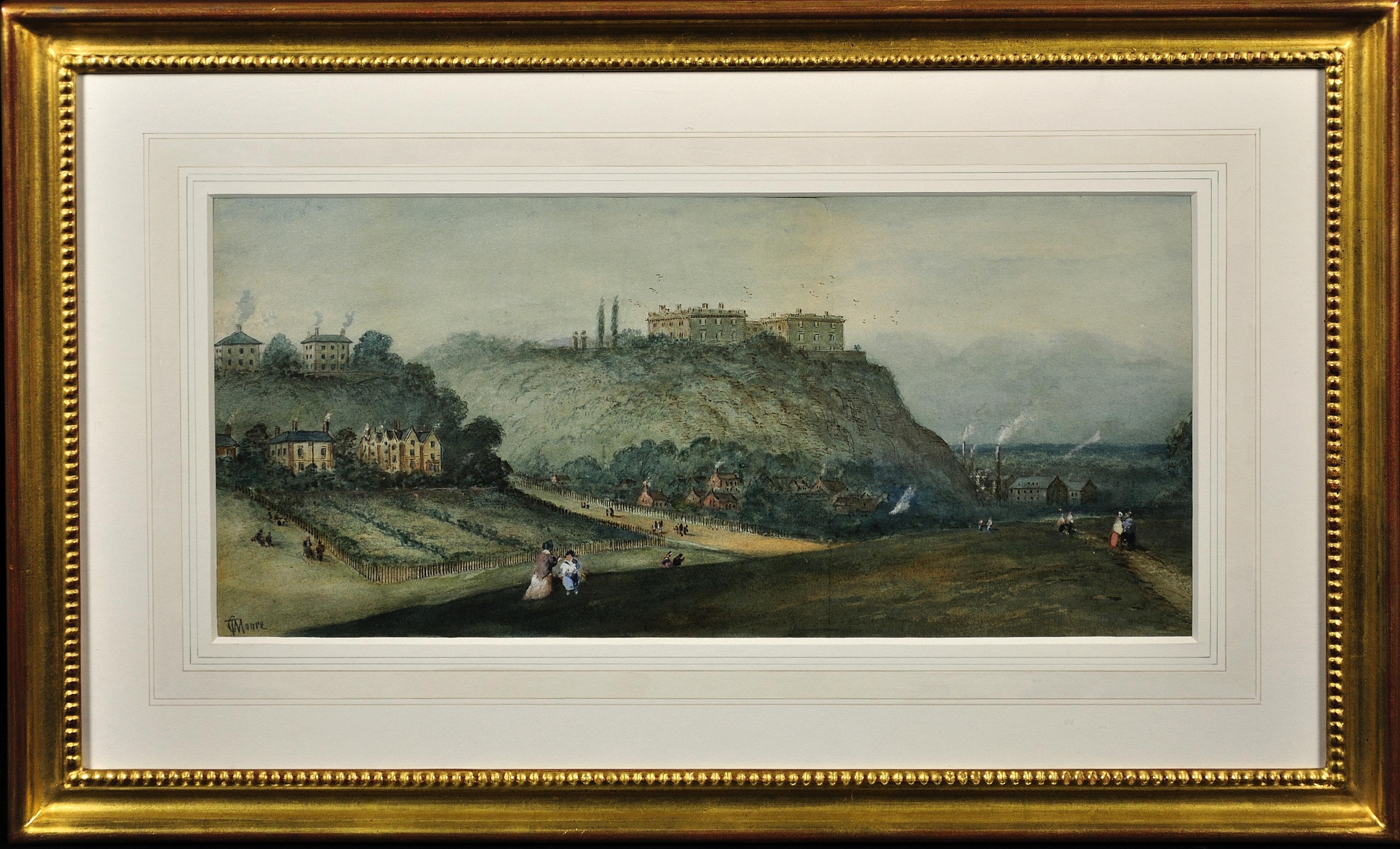 Prospect of Nottingham Castle from The Park. Original Watercolor. Victorian.