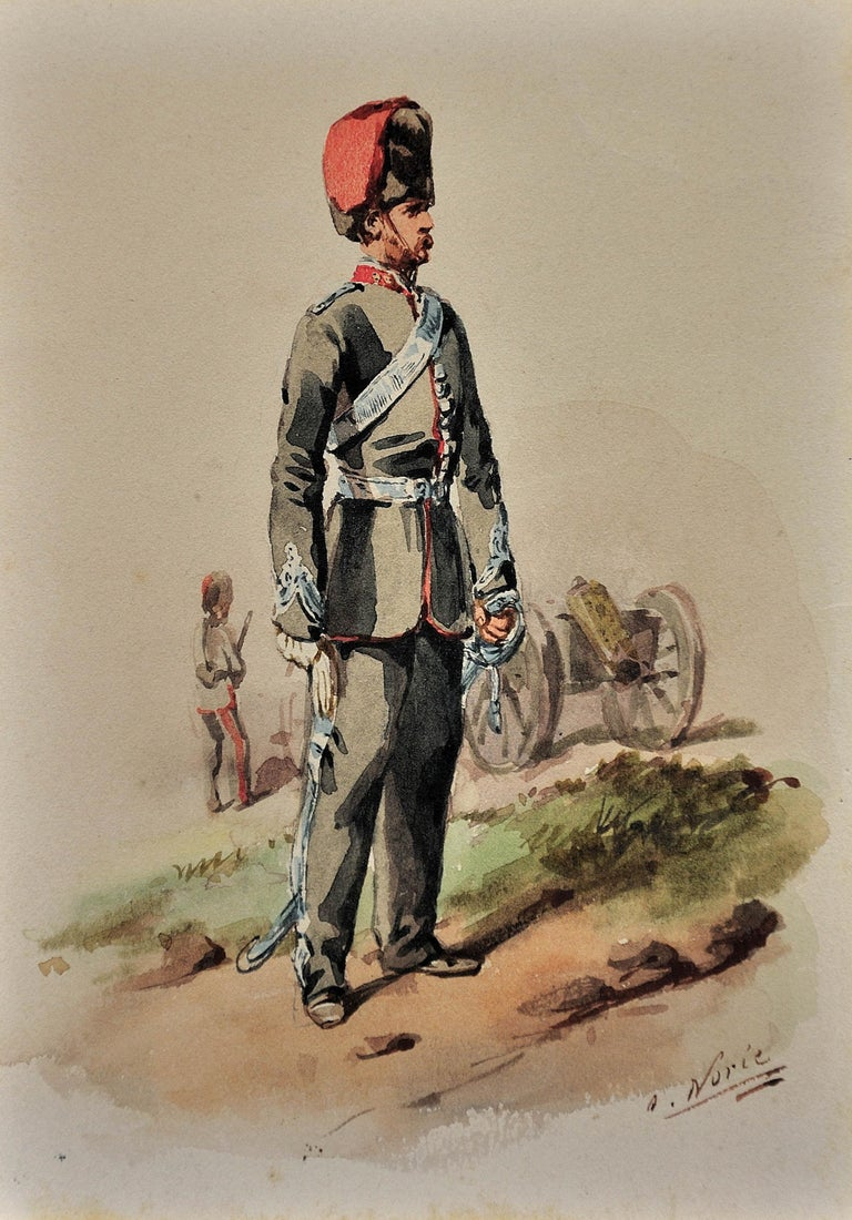 Royal Canadian Horse Artillery Officer.Army. Military Art. Original Watercolor. - Brown Landscape Art by Orlando Norie