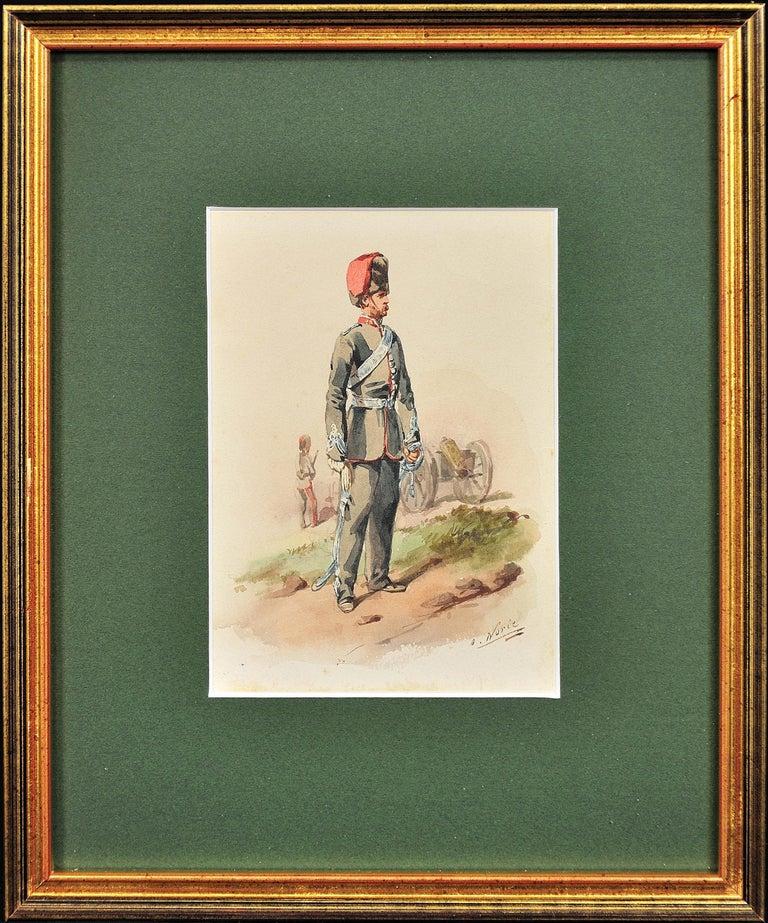 Orlando Norie Landscape Art - Royal Canadian Horse Artillery Officer.Army. Military Art. Original Watercolor.