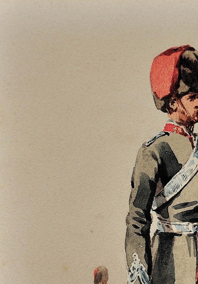 Royal Canadian Horse Artillery Officer.Army. Military Art. Original Watercolor. For Sale 6