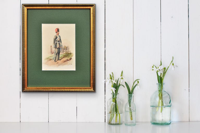 Royal Canadian Horse Artillery Officer.Army. Military Art. Original Watercolor. For Sale 4