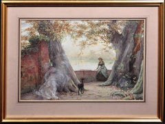 Lost in Her thoughts. Original Victorian Watercolor. Lakeside. Lady & Dog. 1891