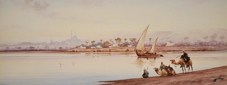 River Nile Feluccas and Camels. Egypt. American Orientalist Watercolor. Mosque. - Art by Edwin Lord Weeks