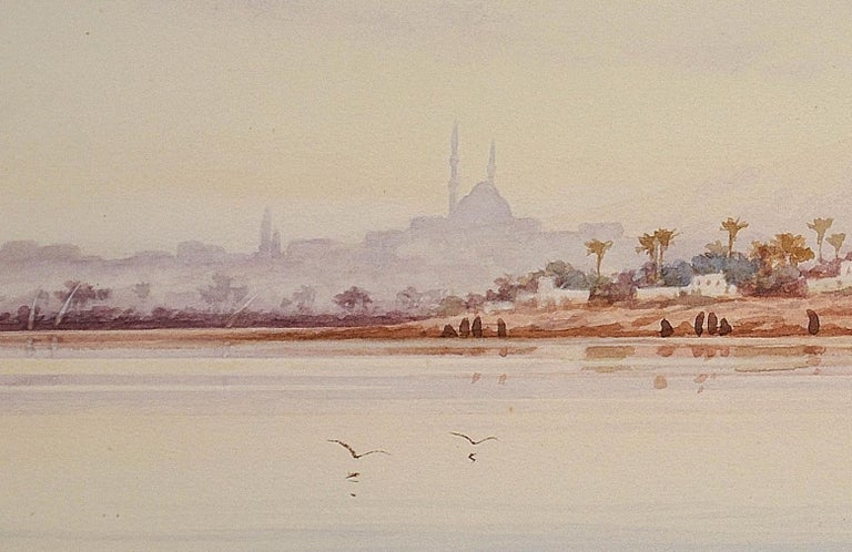 River Nile Feluccas and Camels. Egypt. American Orientalist Watercolor. Mosque. For Sale 4