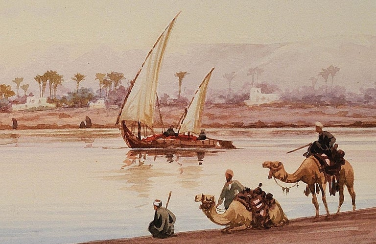 River Nile Feluccas and Camels. Egypt. American Orientalist Watercolor. Mosque. For Sale 5