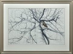 The Tree. Bird of Prey. Owl. Large Original Wildlife Ornithology Painting.