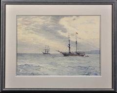 Norwegian Barques at Anchor, Lyme Bay. Victorian.Marine Art.Original Watercolor.