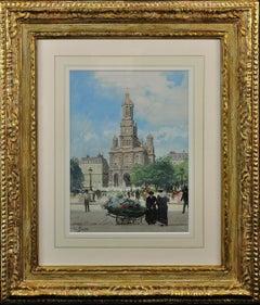L' Église de la Sainte-Trinité, Place de la Trinité, Paris. Original Watercolor.