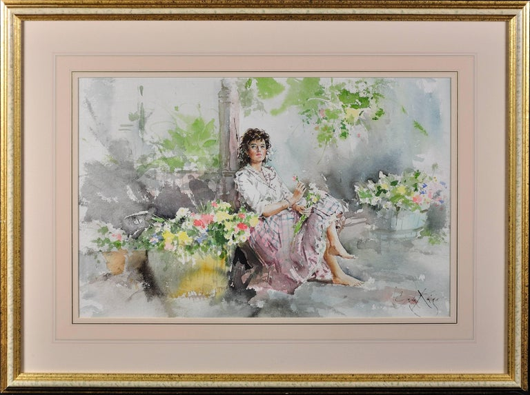 Fond Memories. Original Gordon King Watercolor. Modern British. Lady. Flowers. - Art by Gordon King