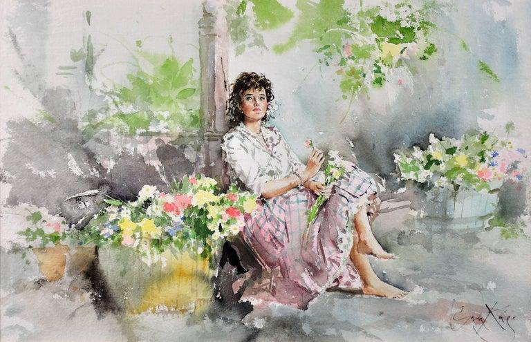 Fond Memories. Original Gordon King Watercolor. Modern British. Lady. Flowers. - Brown Figurative Art by Gordon King