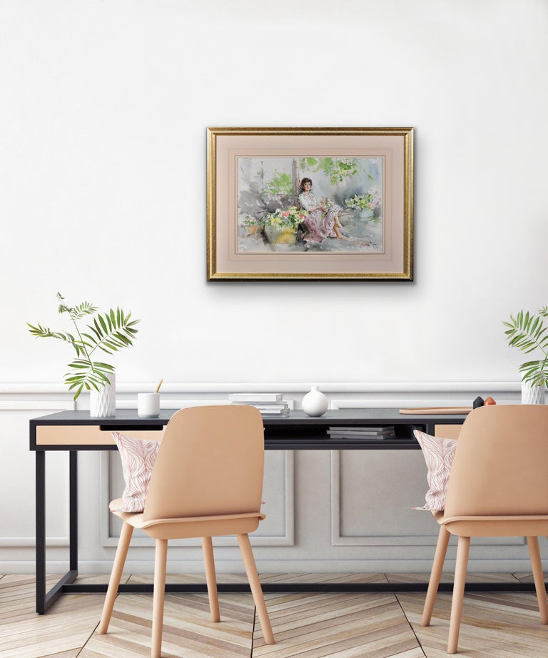 Fond Memories. Original Gordon King Watercolor. Modern British. Lady. Flowers. For Sale 2