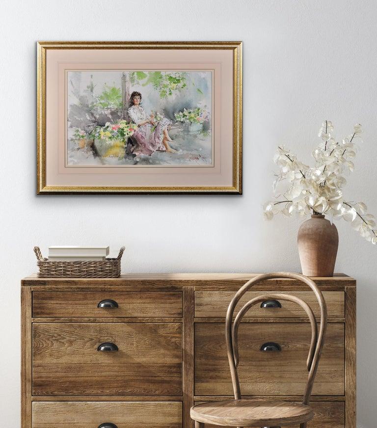 Fond Memories. Original Gordon King Watercolor. Modern British. Lady. Flowers. For Sale 9