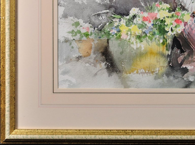 Fond Memories. Original Gordon King Watercolor. Modern British. Lady. Flowers. For Sale 16