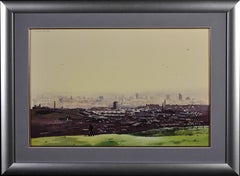 Oldham from the Surrounding Hills. Original Framed Landscape Watercolor . City