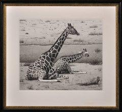 Giraffes – Cow and Calf. Original Wildlife Drawing. Animal. African Landscape.